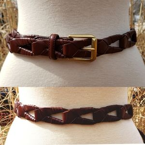 Brighton Unisex Woven Brown Leather Belt